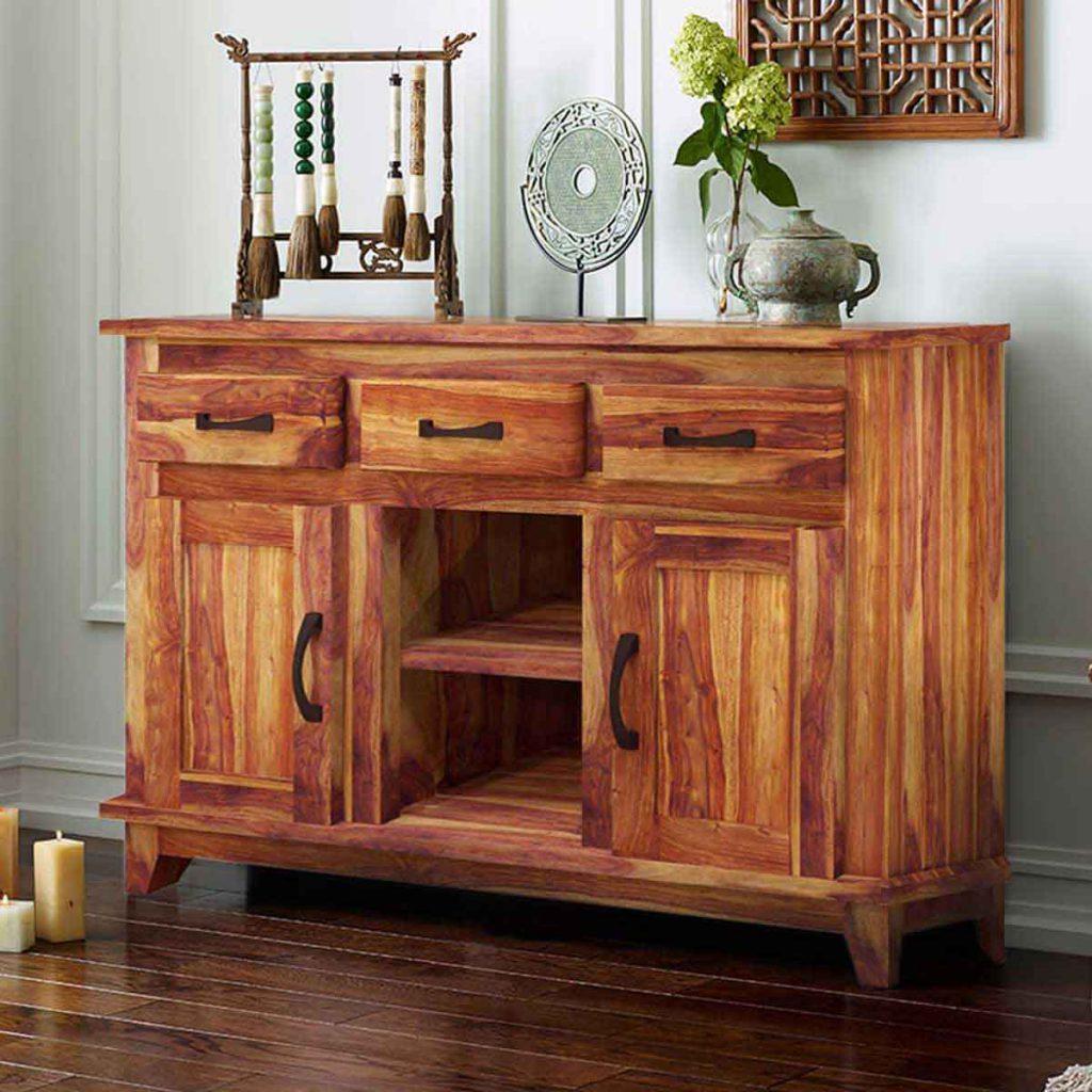 Sierra Nevada Modern Rustic Solid Wood 3 Drawer Sideboard