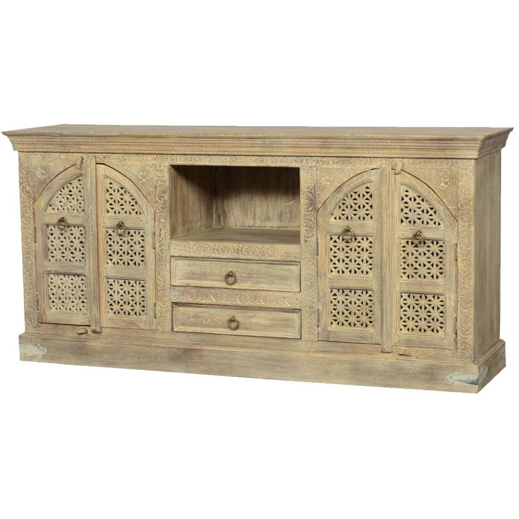Tudor Winter White Mango Wood TV Console Entertainment Cabinet