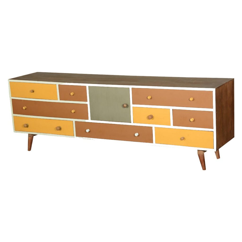 60's Retro Earth Tones Mango Wood Media Console Cabinet