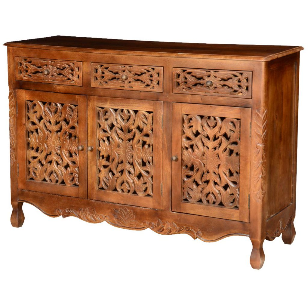 Pennsylvania German Mango Wood Hand Carved Buffet Cabinet