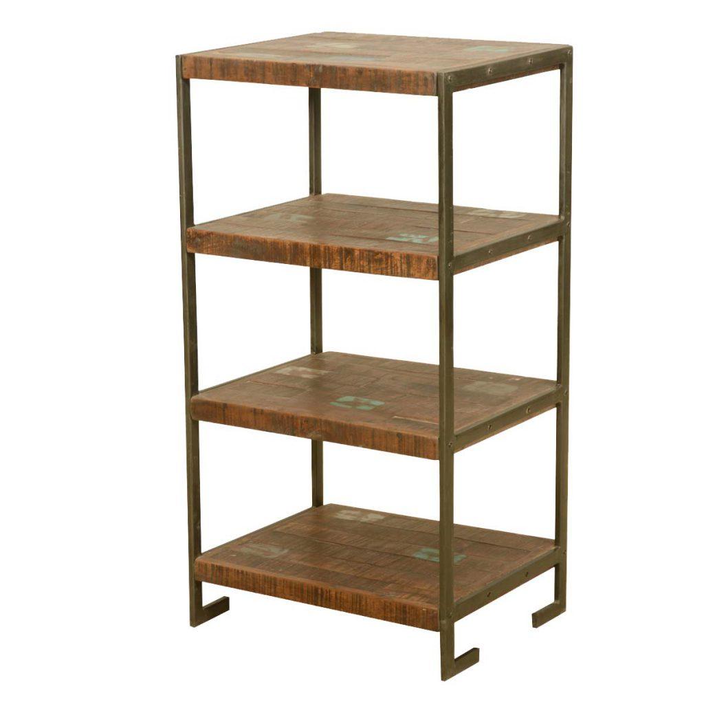 "Oklahoma Rustic Reclaimed Wood 4 Tier End Table 39"" High Display Rack"