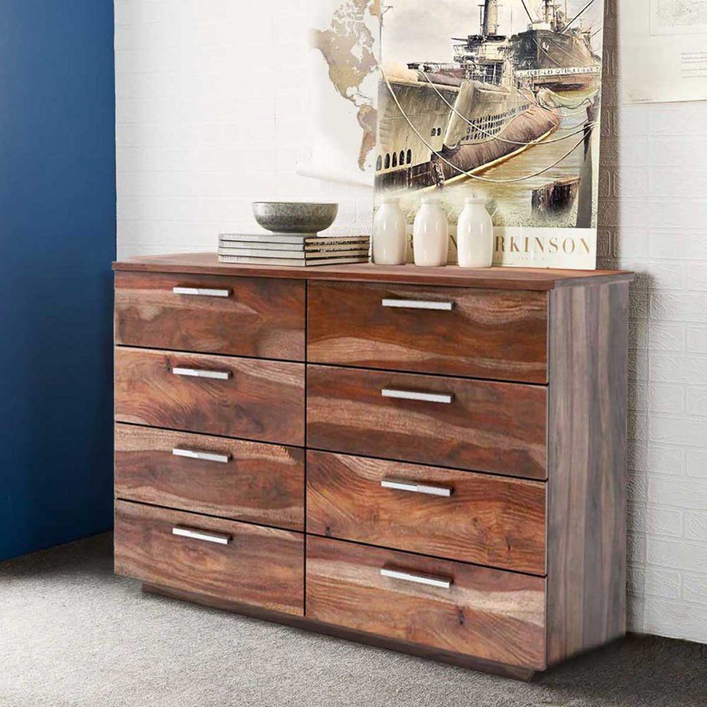 Hampshire Solid Wood Modern Rustic 8 Drawer Double Dresser