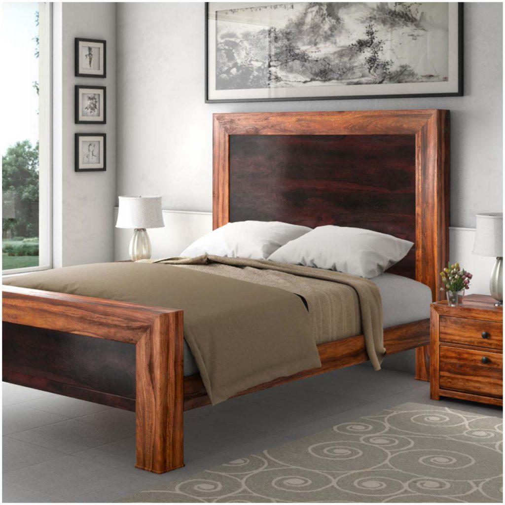 Texas Solid Wood Paneled Platform Bed Frame w Headboard