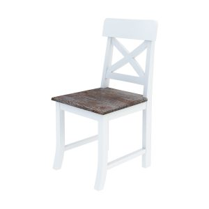 Danville Modern Teak and Solid Wood Cross Back Side Chair