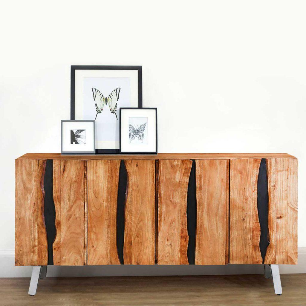 Saturn Acacia Wood 4 Door Sideboard Cabinet