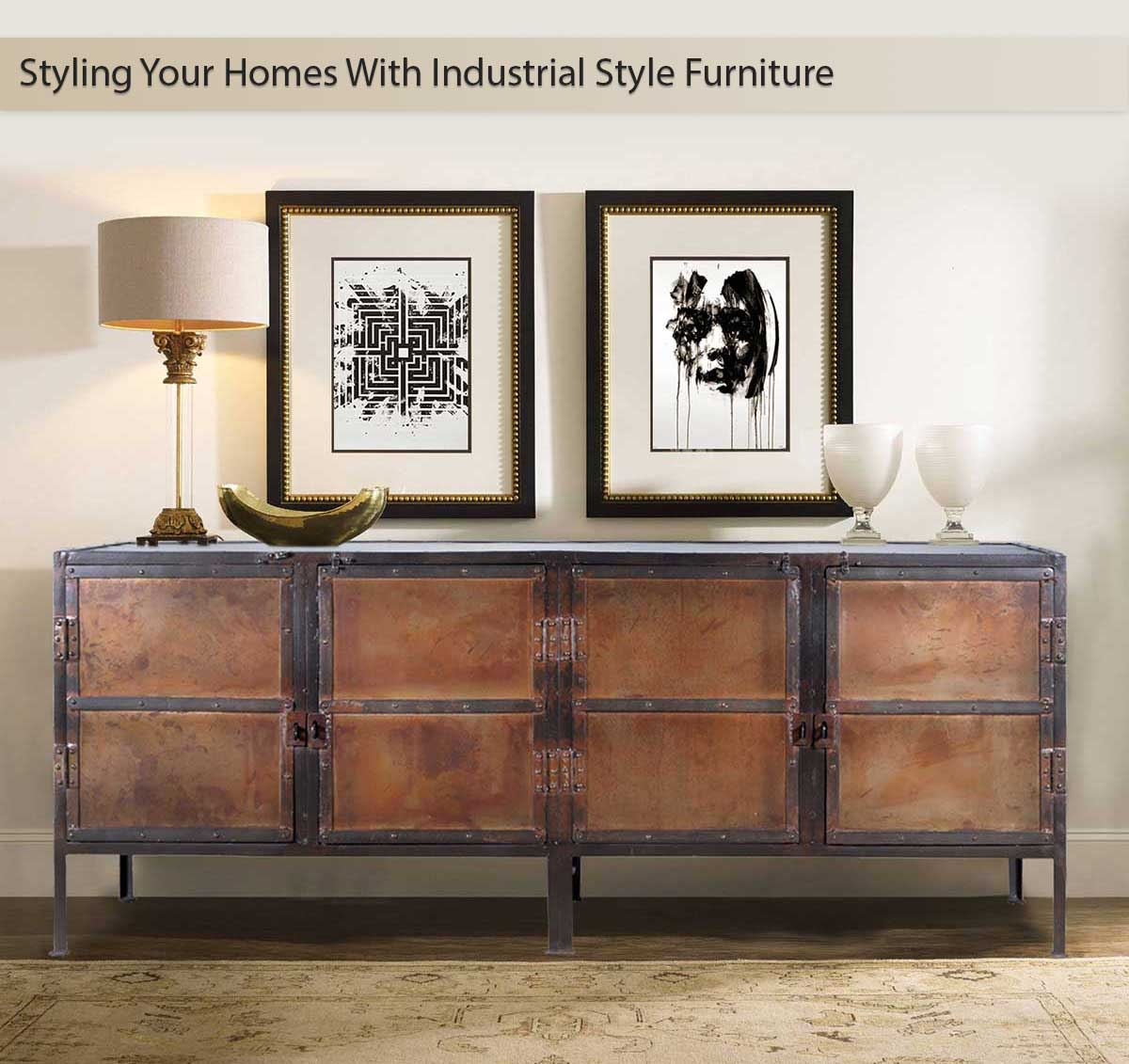 Industrial style furniture industrial black and brown iron 4 door large buffet cabinet