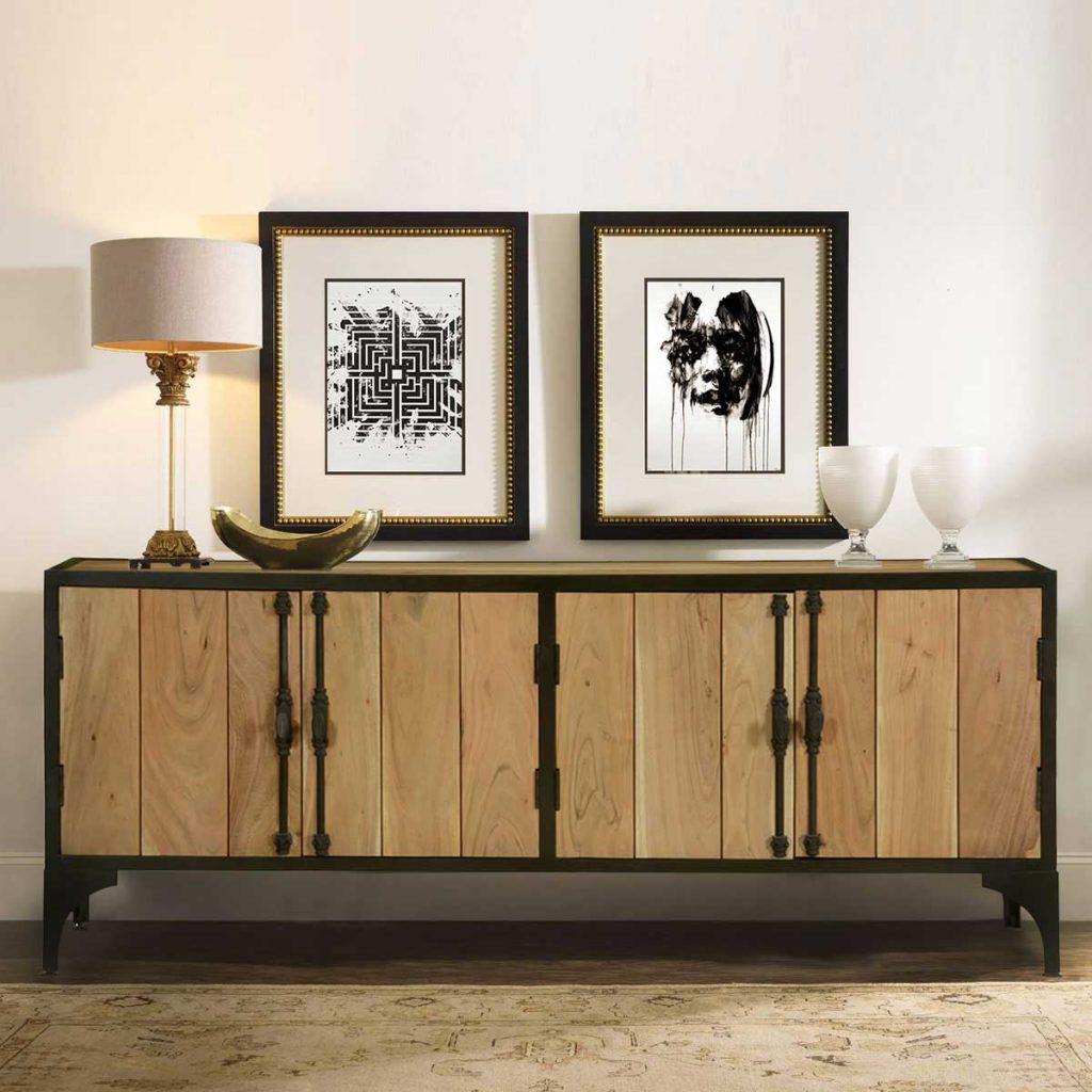 Warsaw Modern Mango Wood Iron Industrial Sideboard Cabinet