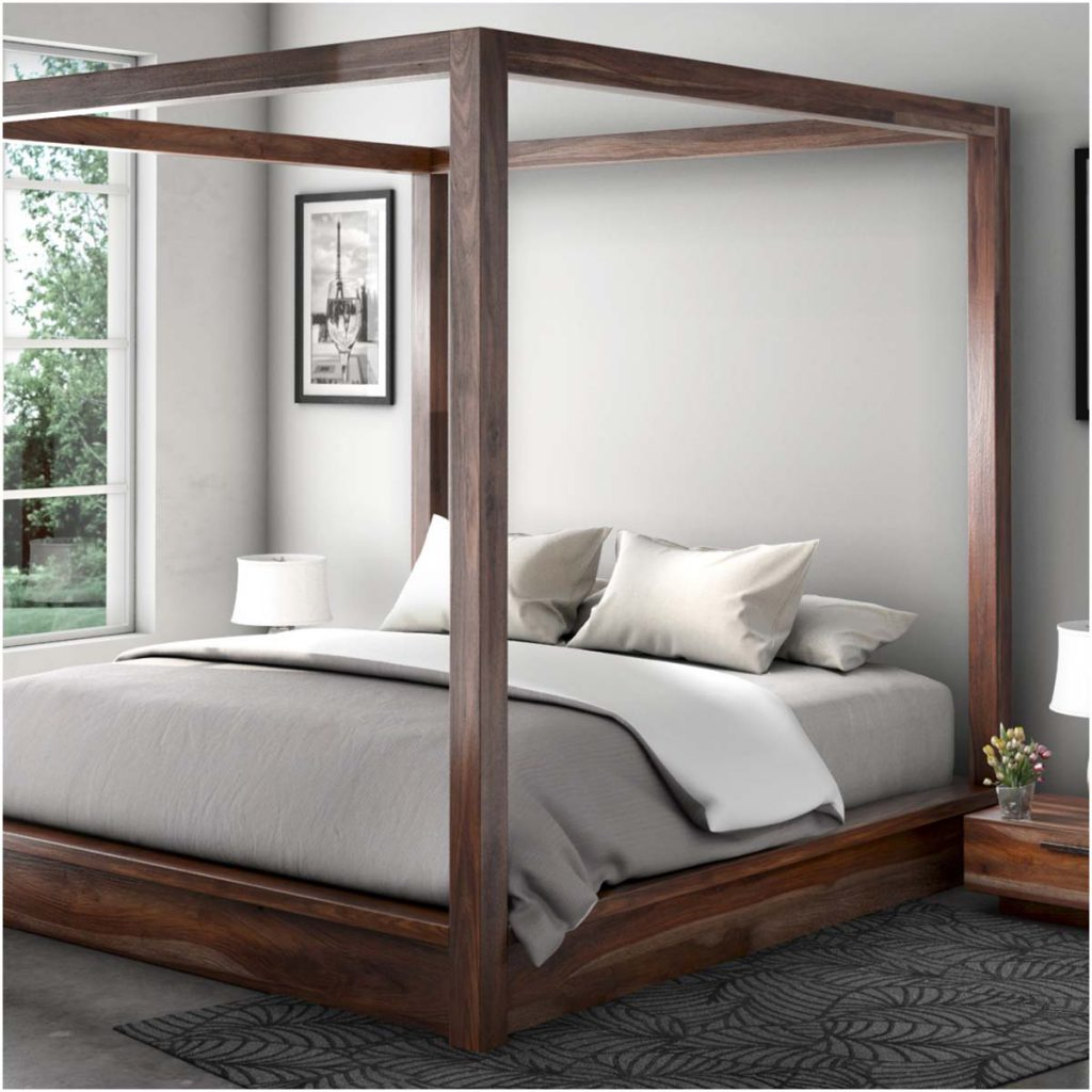 Hampshire Solid Wood Contemporary Platform Canopy Bed