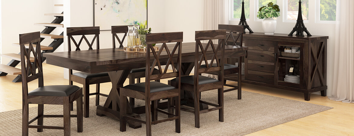 Antwerp Farmhouse Solid Wood 8 Piece Extension Dining Room Set
