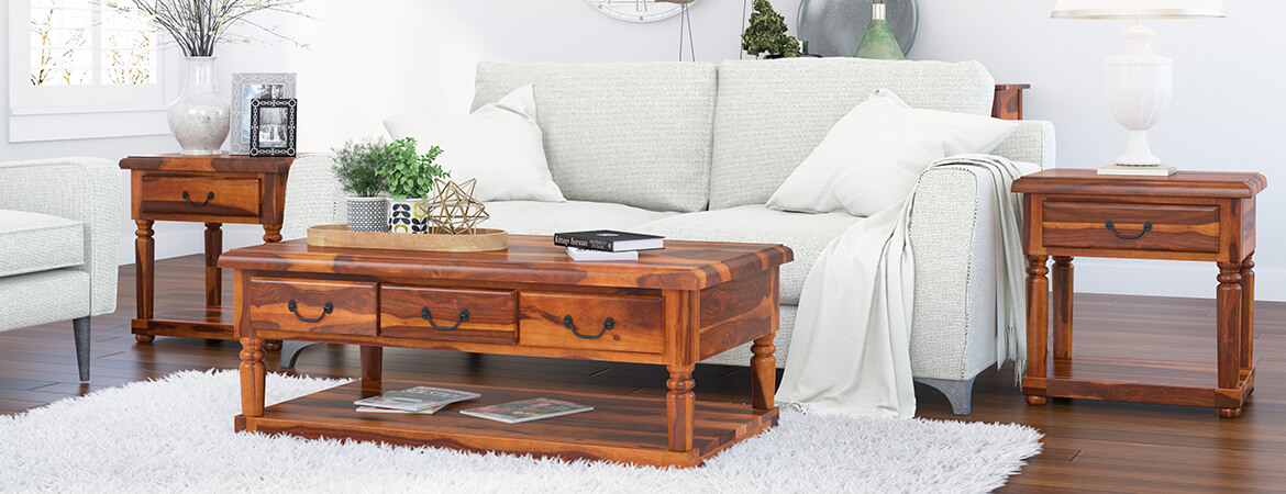 Baluster Rustic Wood 3 Piece Coffee Table Set With Drawers