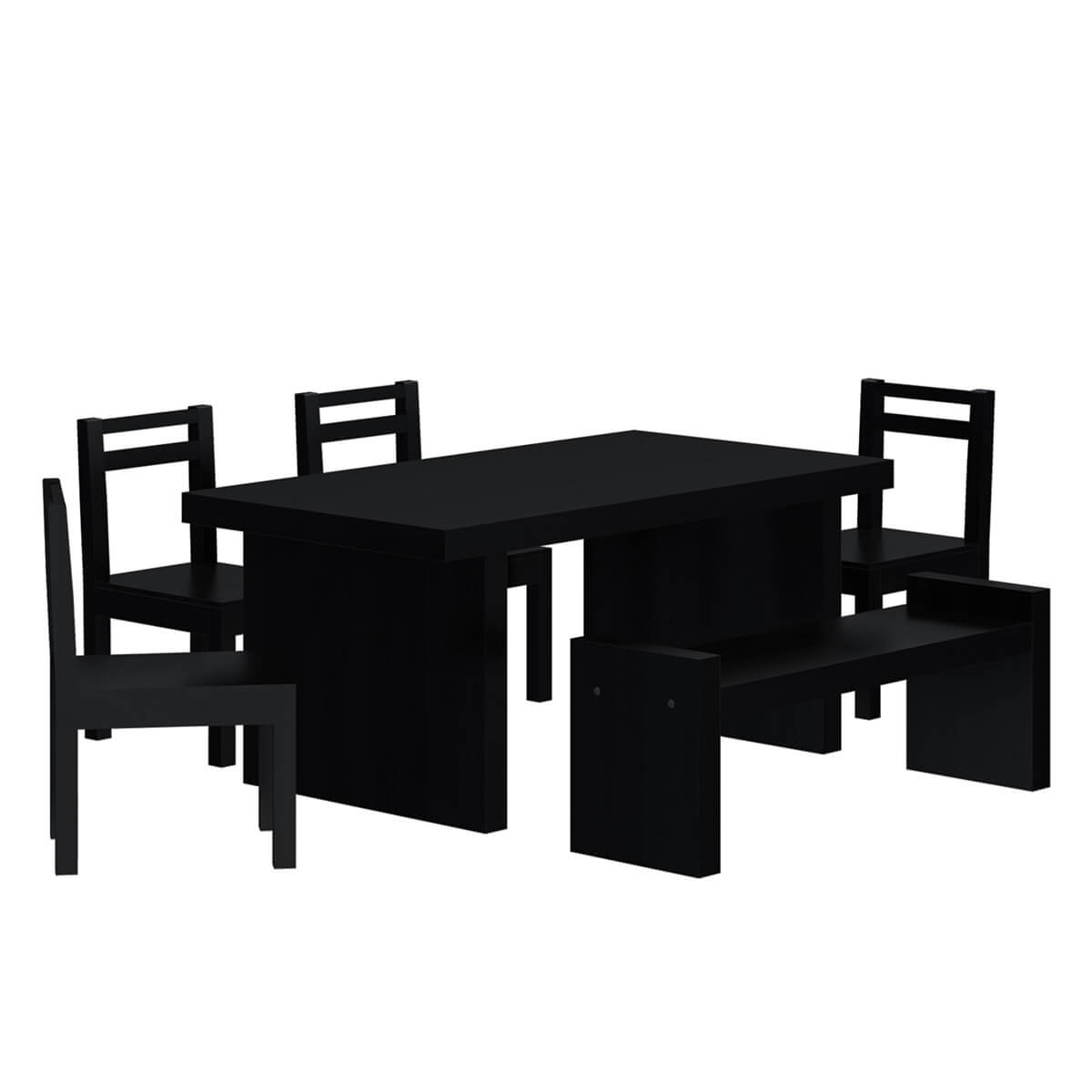 Arcadian Modern Style Rustic Solid Wood 6 Piece Dining Set with Bench