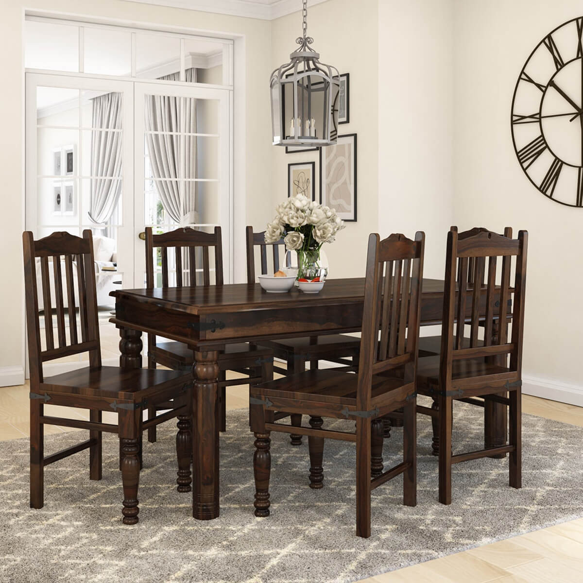 sc 1 st  Sierra Living Concepts & Oklahoma Farmhouse Traditional 5pc Solid Wood Country Dining Table Set
