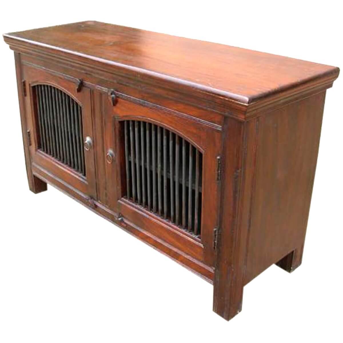Wade Solid Wood 2 Wrought Iron Door Buffet Cabinet