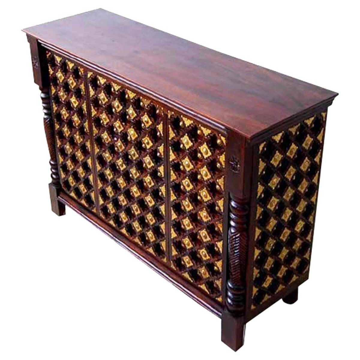 sc 1 st  Sierra Living Concepts & Jenera Solid Wood Brass Inlay Open Home Bar Cabinet With Wine Storage
