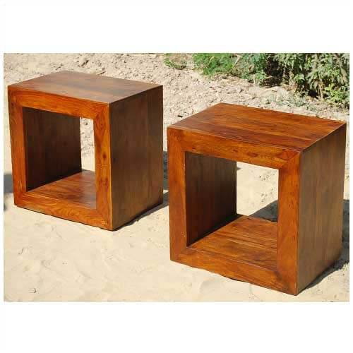 Solid Wood Block Coffee Table Book shelf Bed Side Table Set - Wood Block Coffee Table Book Shelf Bed Side Table Set