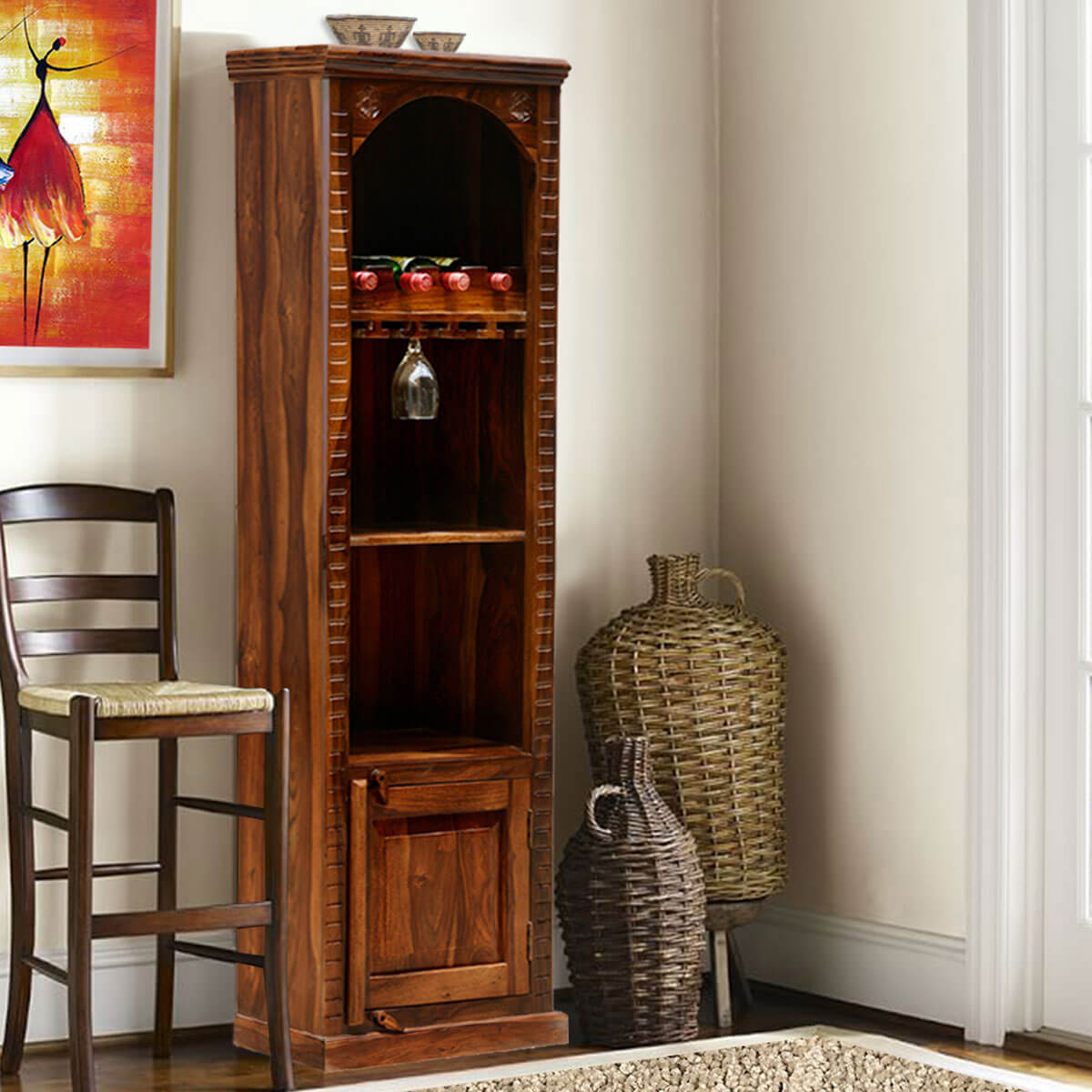 Brand new Kipton Rustic Solid Wood Handcrafted Tall Wine Bar Cabinet ZD12