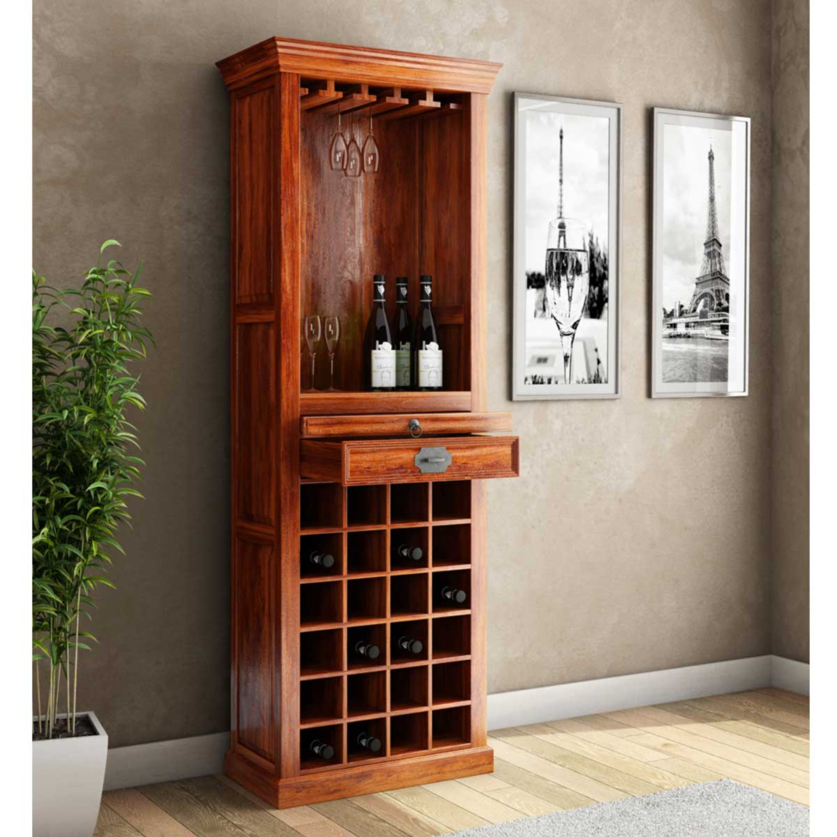 & Lovedale Rustic Mango Wood Tower Bar Cabinet with Wine Storage