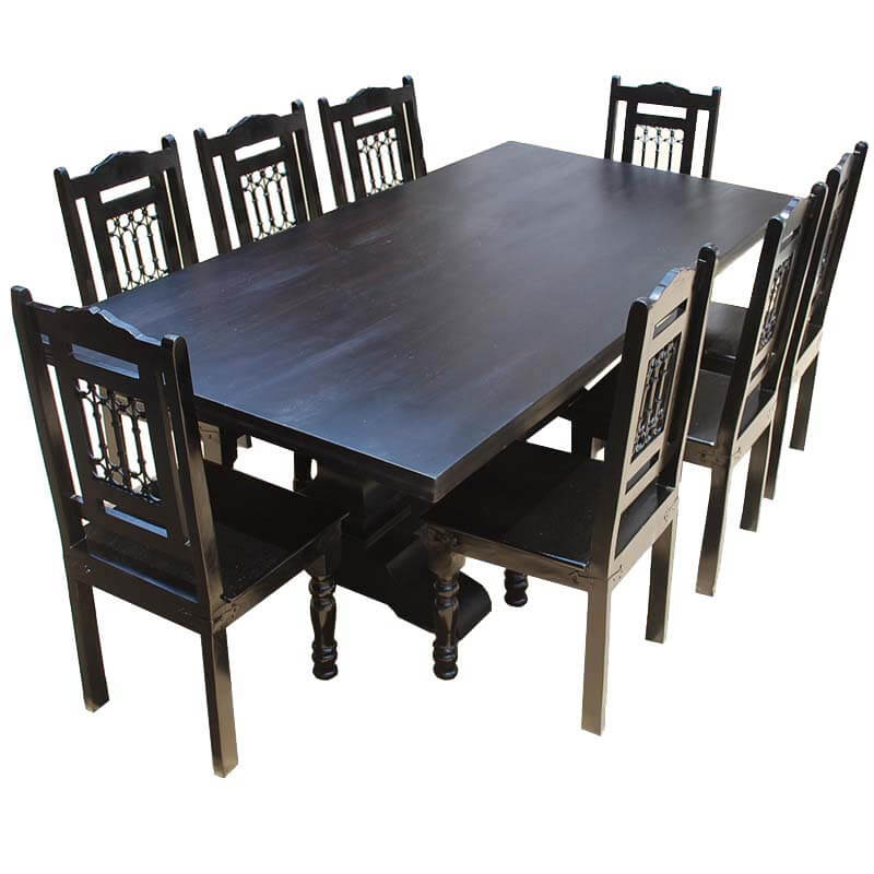 Nottingham Trestle Pedestal Rectangular Wood Dining Table Chair Set
