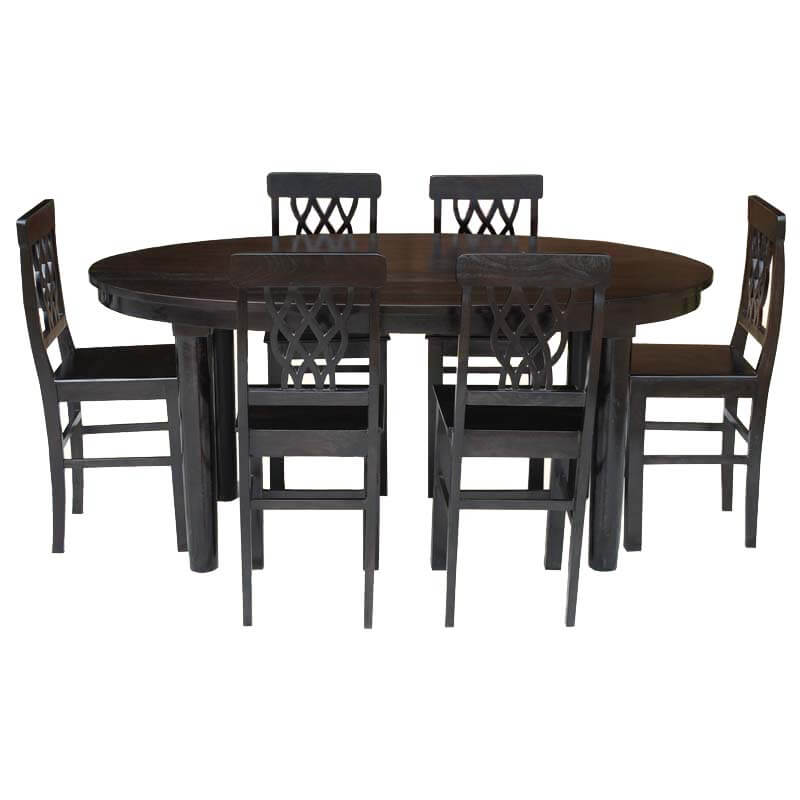 Portland Modern 7pc Oval Table & Pineapple Back Chairs