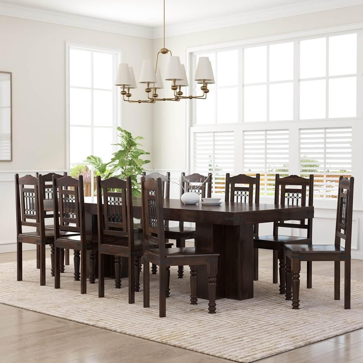 Dallas Classic Solid Wood Double Pedestal Dining Set For 8 People