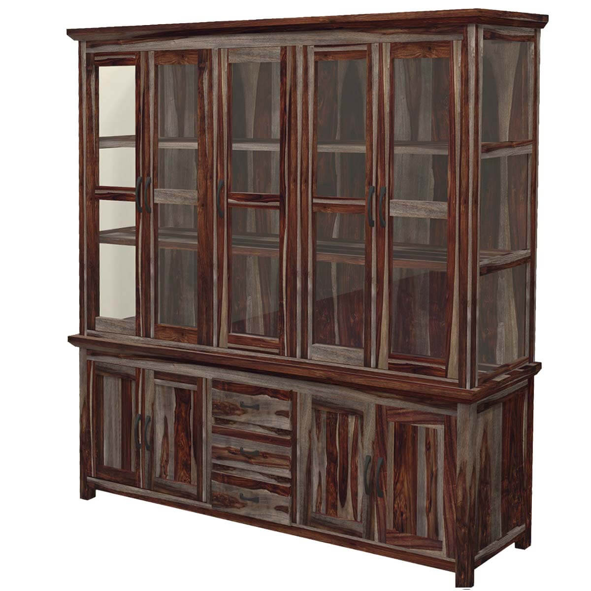 sc 1 st  Sierra Living Concepts & Dallas Ranch Rustic Solid Wood Glass Door Dining China Hutch