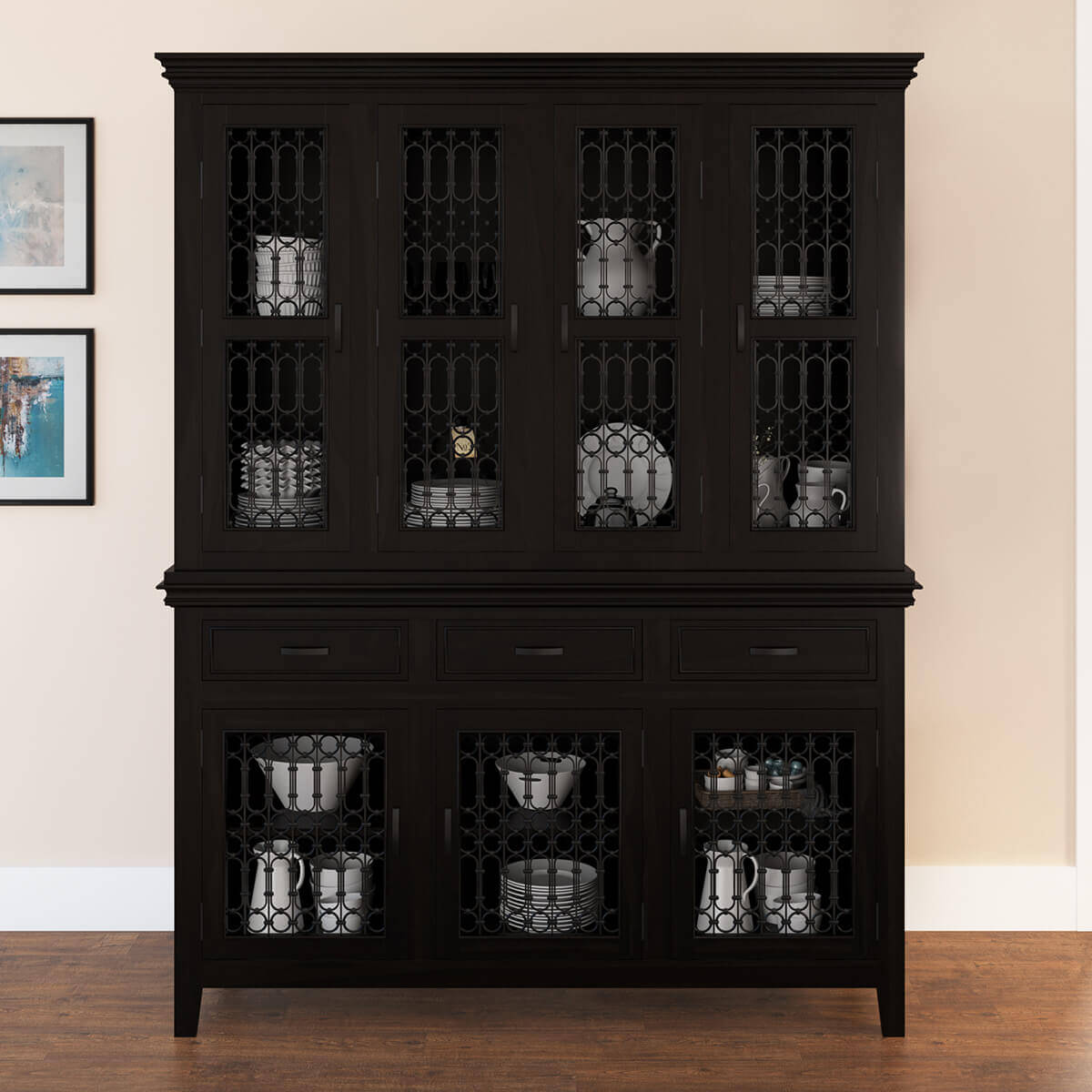 Harold Traditional Solid Wood Iron Grill Door Buffet With Hutch