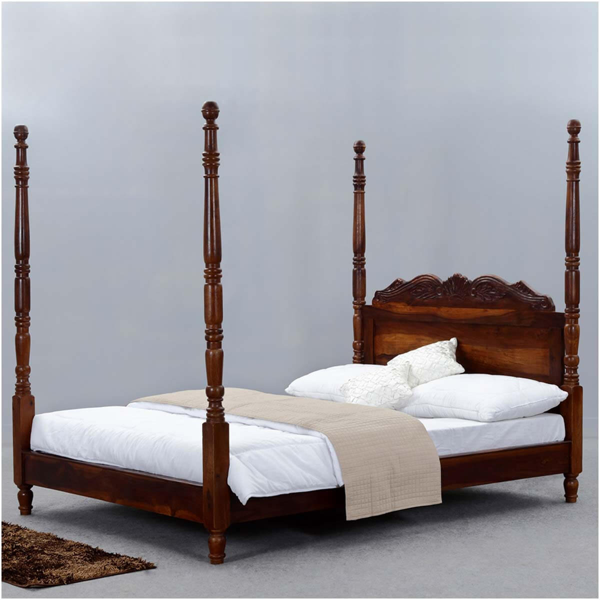 Queen Anne Solid Wood Four Poster Platform Bed Frame W Headboard
