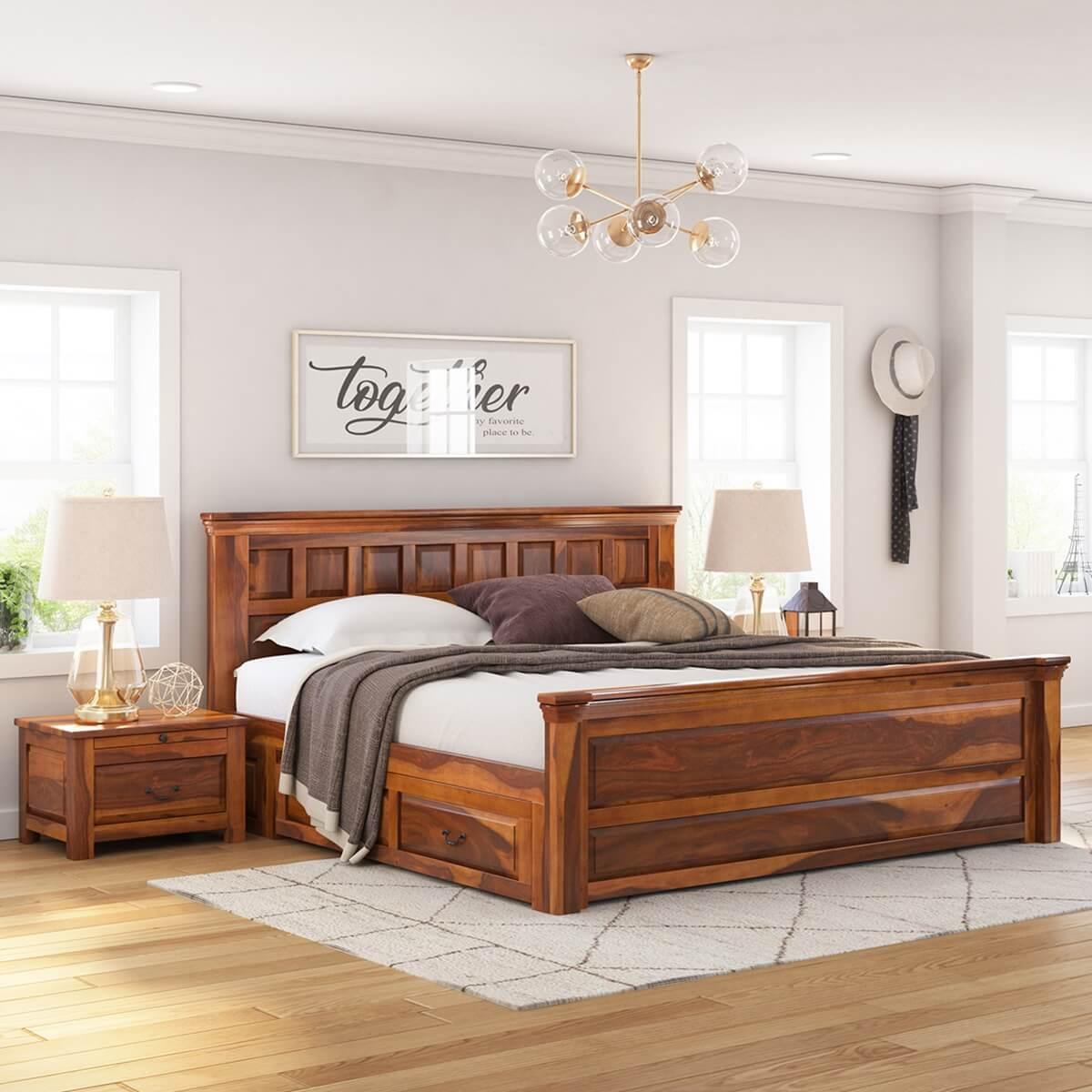 delaware solid wood platform bed frame 3pc suite. Black Bedroom Furniture Sets. Home Design Ideas