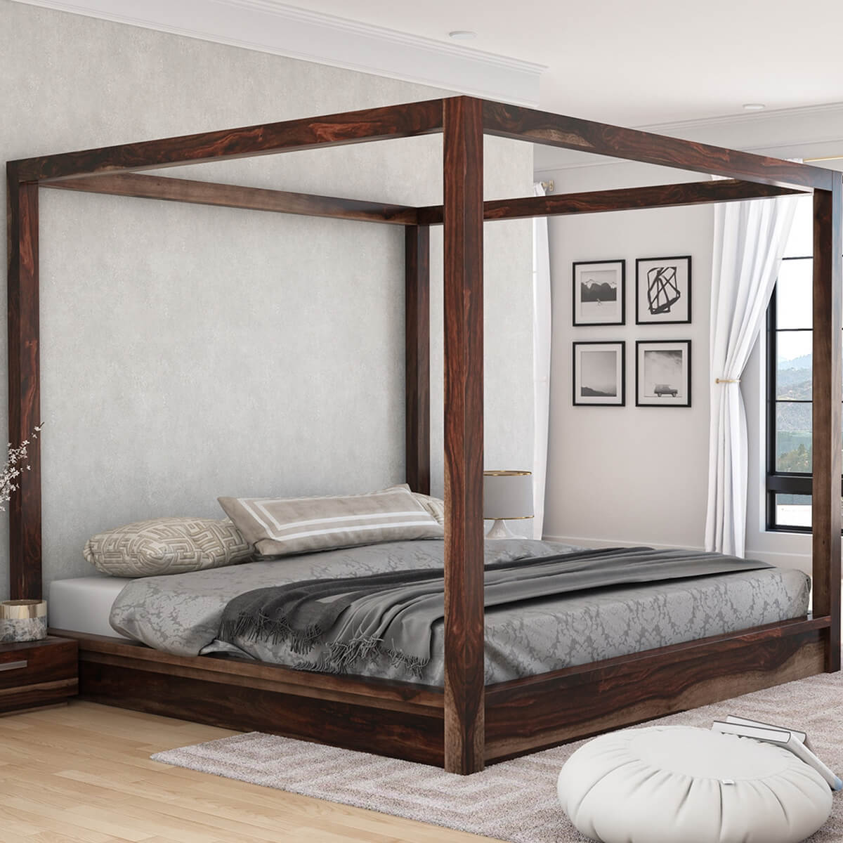H&shire Rustic Solid Wood Canopy Bed & Rustic Solid Wood Canopy Bed