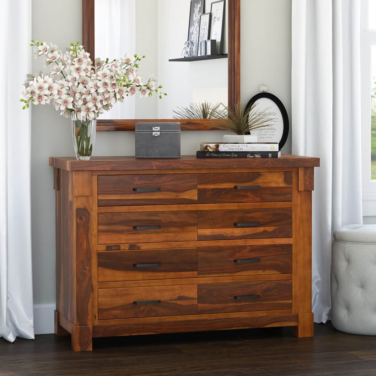 modern wood dresser modern farmhouse solid wood 8 drawer dresser 12649