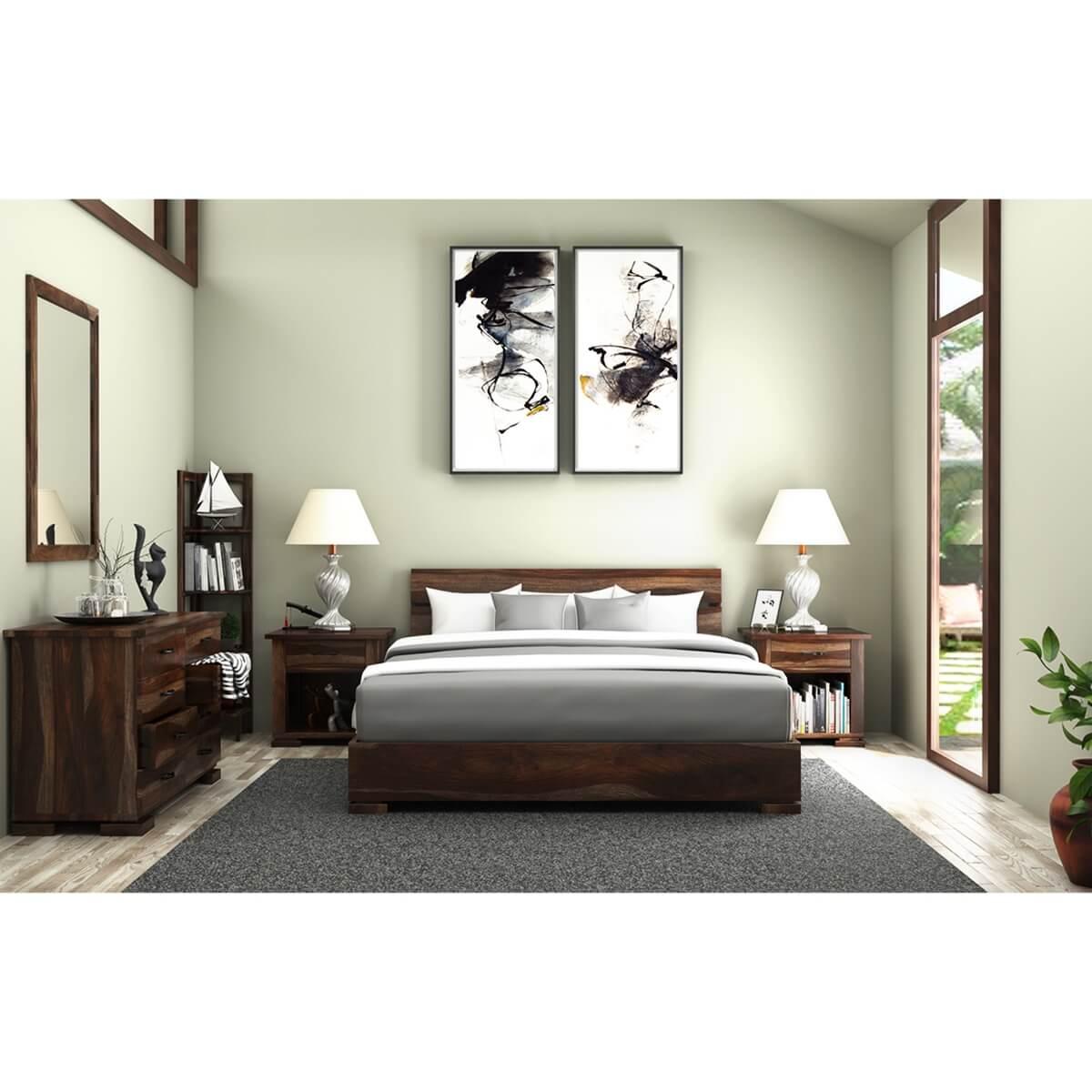 Athena full size platform bed 5 piece solid wood bedroom set for Bedroom 5 piece sets