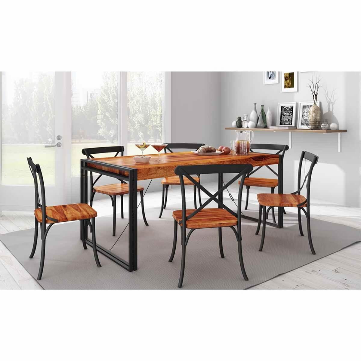 Texas industrial handmade rustic solid wood dining table chair set - Handmade wooden dining tables ...