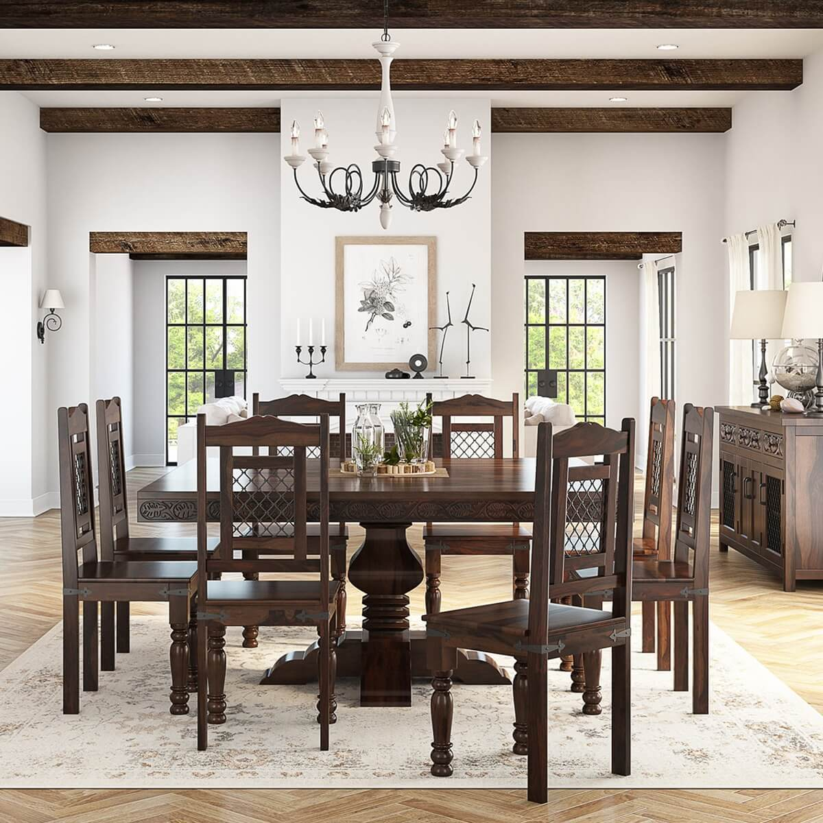 Florida Handcrafted Exquisite Solid Wood 10 Piece Dining Table Set