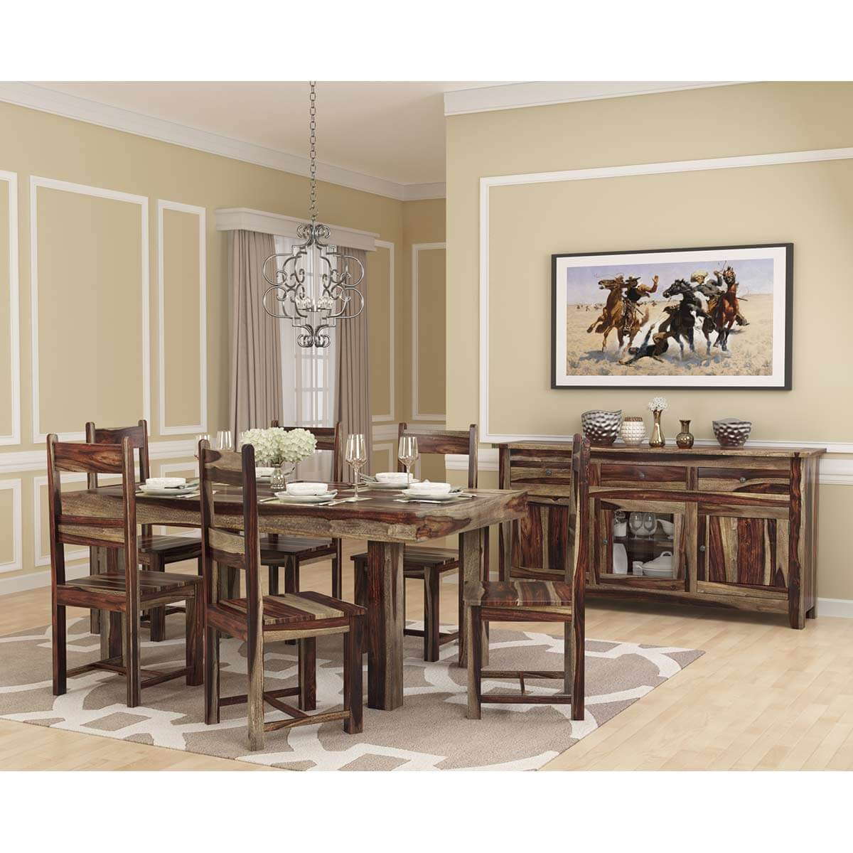 Frisco Modern Handcrafted Solid Wood 8 Piece Dining Room Set