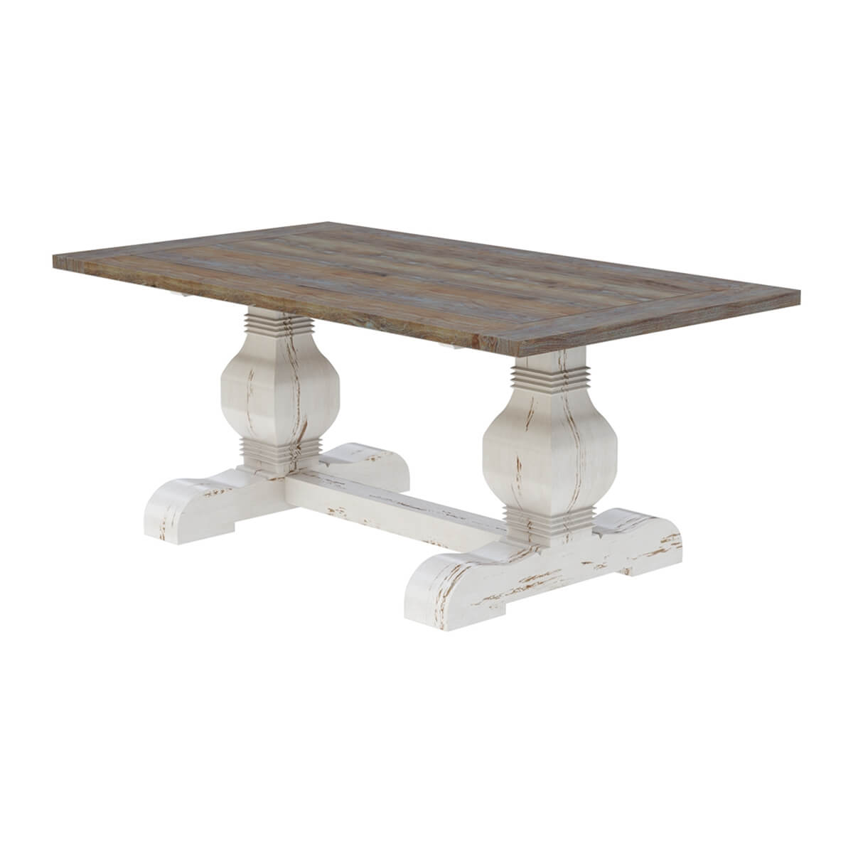 greenville two tone teak wood trestle pedestal dining table. Black Bedroom Furniture Sets. Home Design Ideas