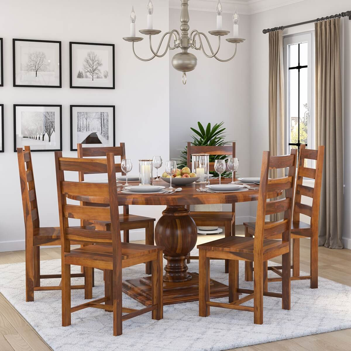 Cloverdale Solid Wood Round Dining Table With 6 Chairs Set