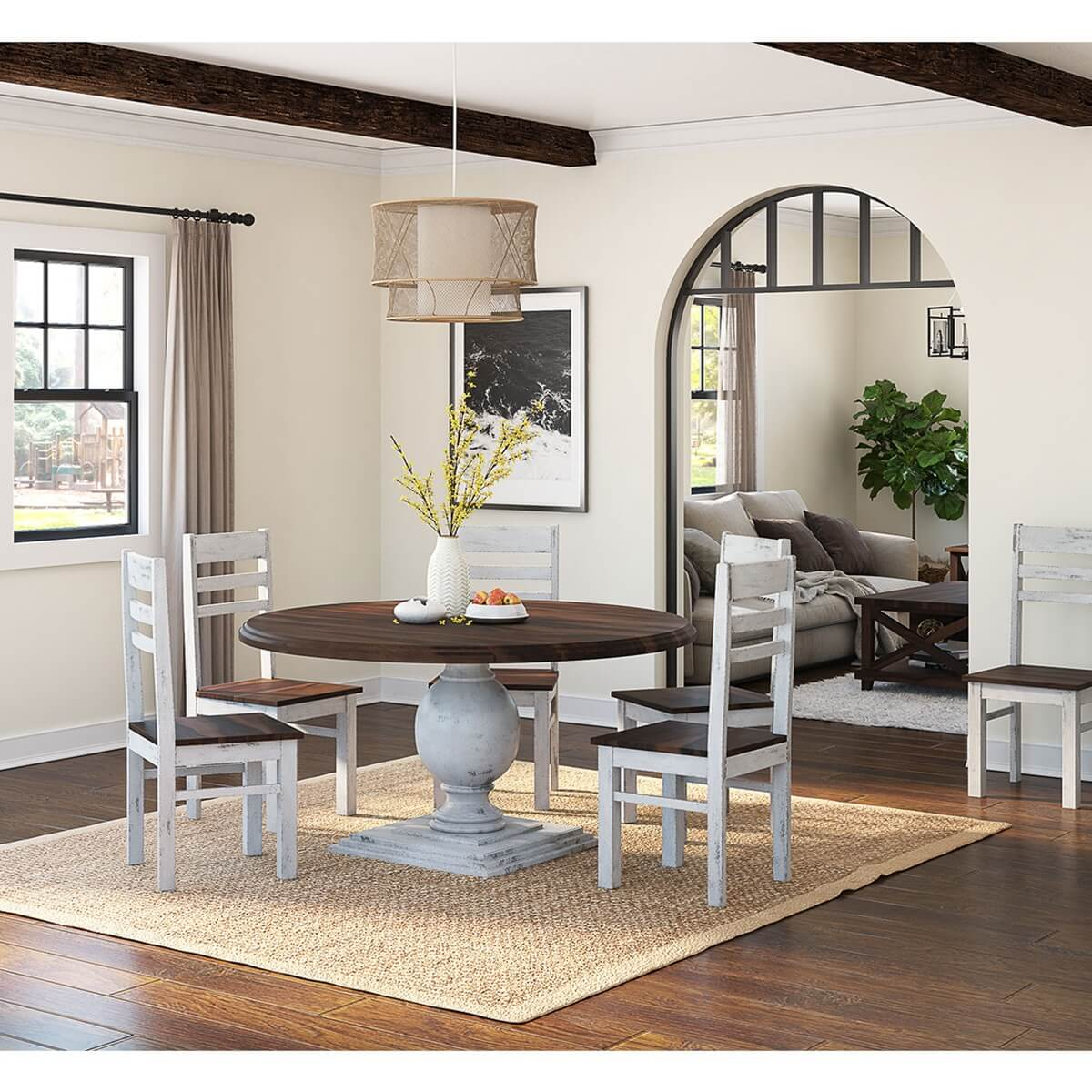 Illinois Modern Two Tone Large Round Dining Table With Chairs Set - Large round dining table 8 chairs