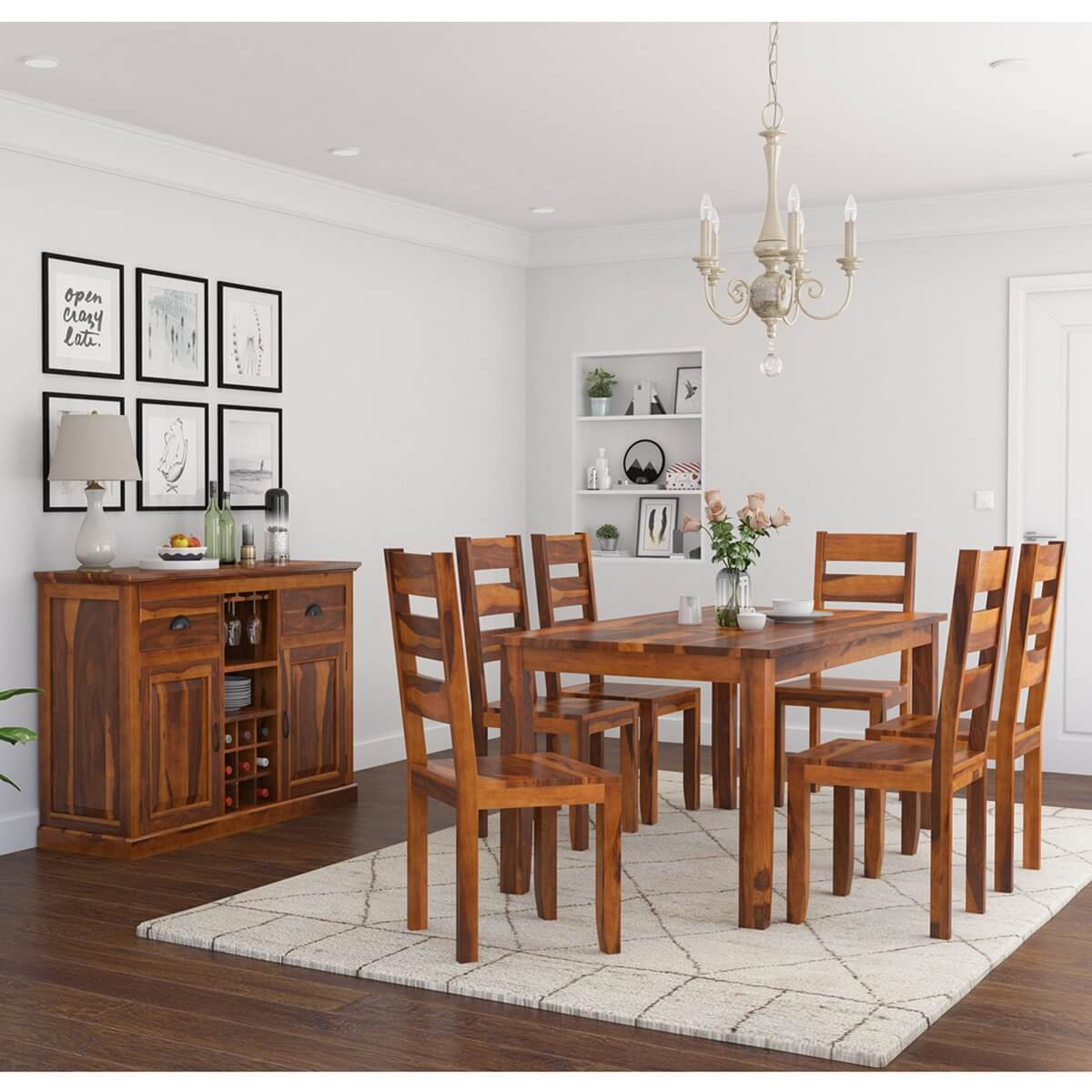 Cariboo Contemporary Rustic Solid Wood 8 Piece Dining Room Set