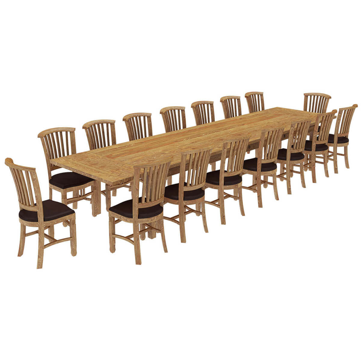 Brussels Reclaimed Wood 17 Piece Large Extendable Dining Table Set
