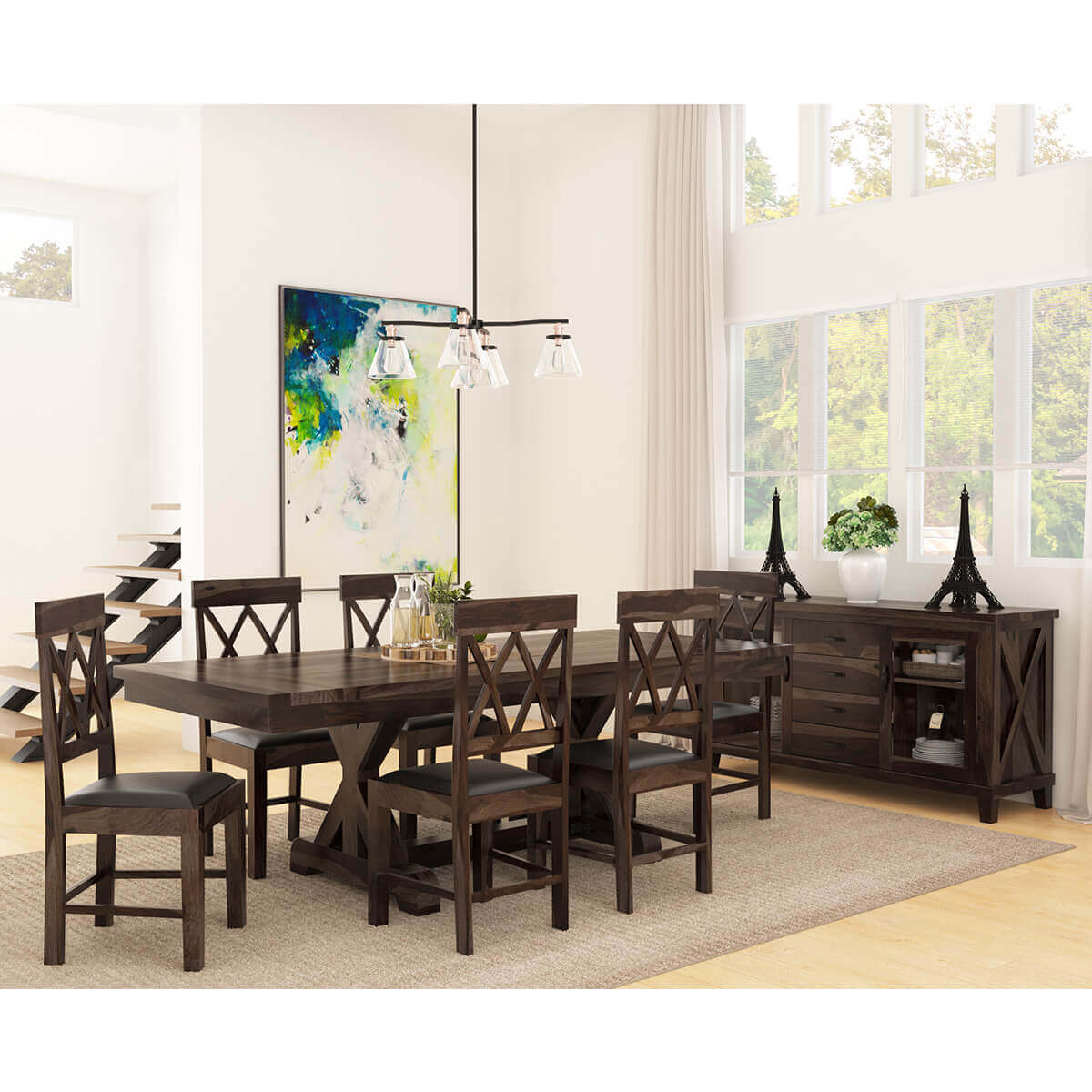 Dining Room Set With Extension antwerp farmhouse solid wood 8 piece extension dining room set