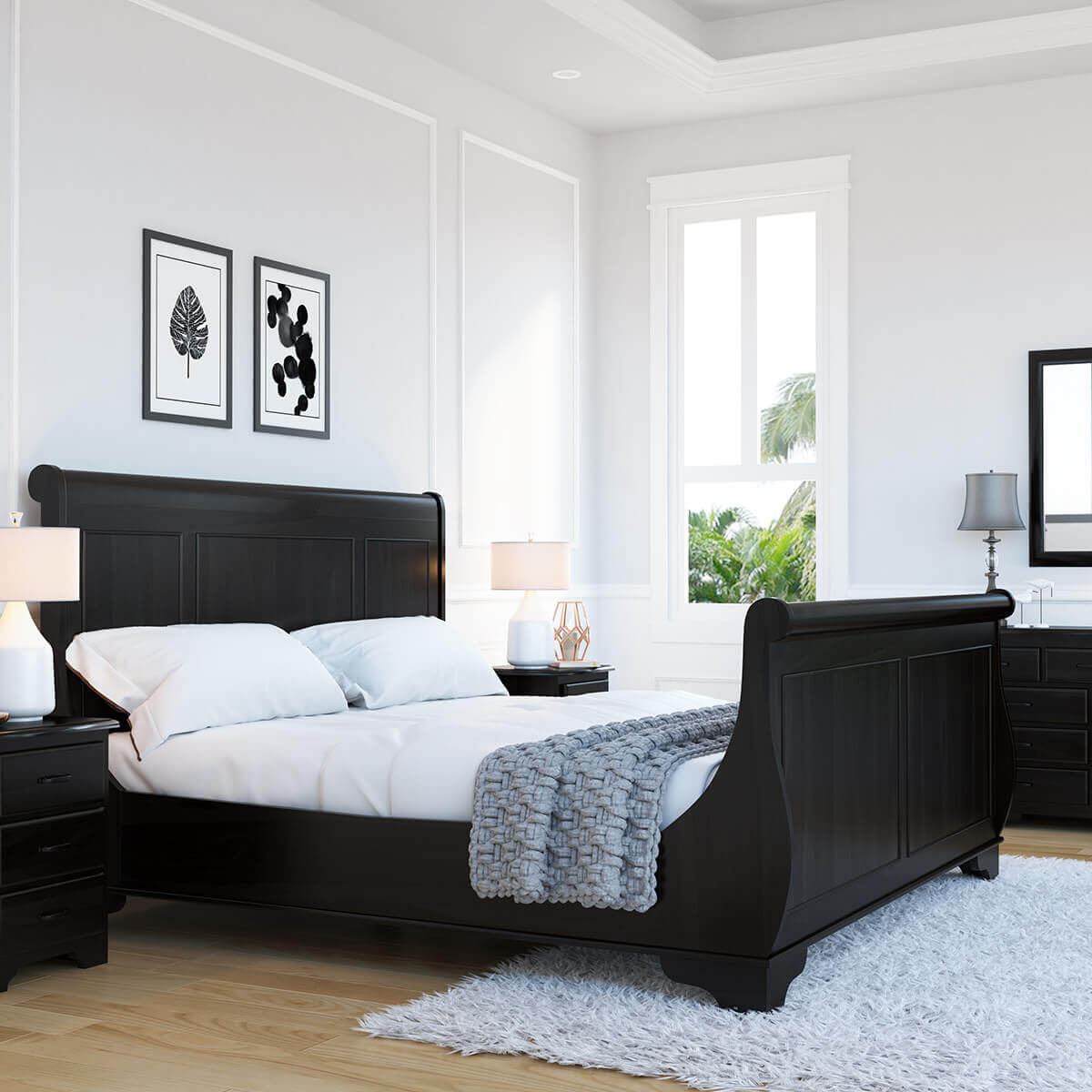 Majorca Contemporary Solid Wood Platform Sleigh Bed