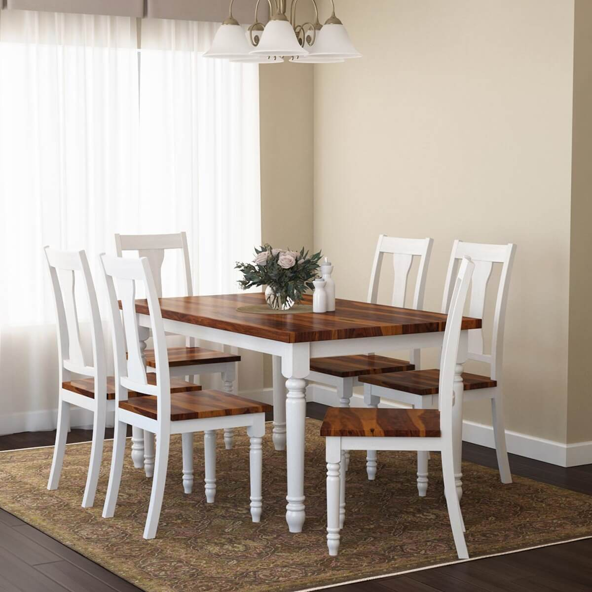 Proberta Two Tone Solid Wood Rustic Dining Table and Chair Set
