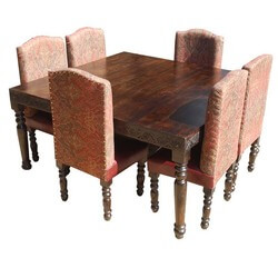 Rustic Square Nottingham Transitional Leather Dining Table Set For 6