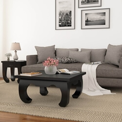Ming Asian Black Solid Wood Square Opium Coffee Table