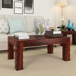 Amery Unique Handcrafted Block Legs Solid Wood Coffee Table