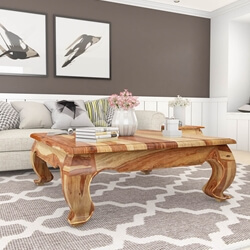 Halfeti Contemporary Rustic Solid Wood Large Opium Coffee Table