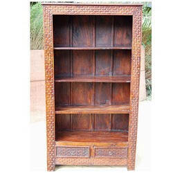 mango-wood-carved-4-shelves-2-drawers-armoire-bookshelf