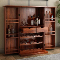 Wisconsin Rustic Solid Wood Expandable Bar Cabinet With