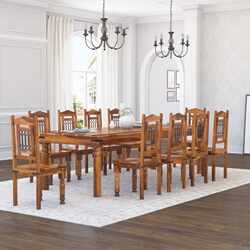 Rustic Furniture Solid Wood Large Dining Room Table Chair Set