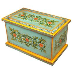 green-floral-hand-painted-hardwood-coffee-table-chest